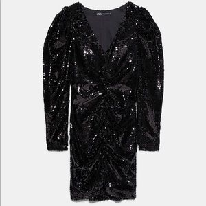Zara Ruched black Sequin dress